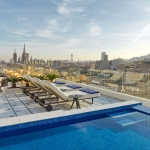 Bitta loungers overlooking Barcelona.