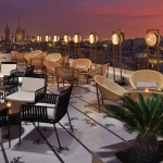 The chill out terrace at dusk.