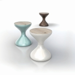 Bell - The inspiration is almost too obvious - two bells joined together to make up the shape of this small side table. The organic and fluid lines will make an eye catching addition to any outdoor area.