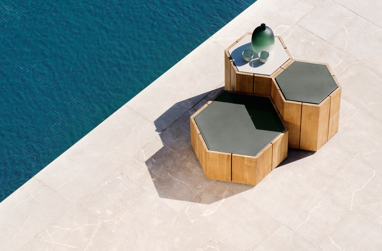 High end outdoor furniture side tables Hexagon in Teak
