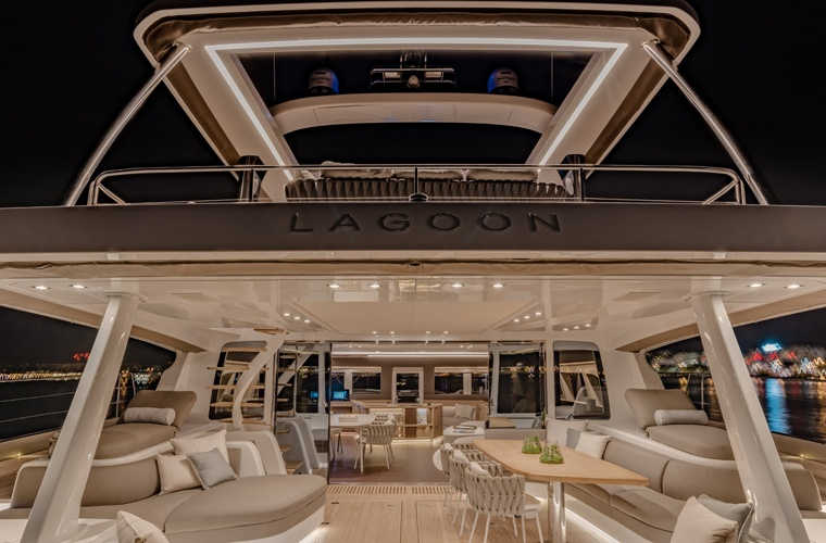 Luxury motor yacht furniture with Tosca