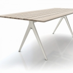 Split - The legs of the Split table have a very characteristic look with an inverted 'Y' construction and tapering form, which emphasises a light and subtle connection to the ground. The uneven cutting of the table top adds an organic look, while tricking the eye with a visual surprise.