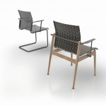Sway - With a sling seat construction that is flexible enough to provide a soft landing - a bit like swaying grass. Sway comes as both a cantilever version or with a teak frame.