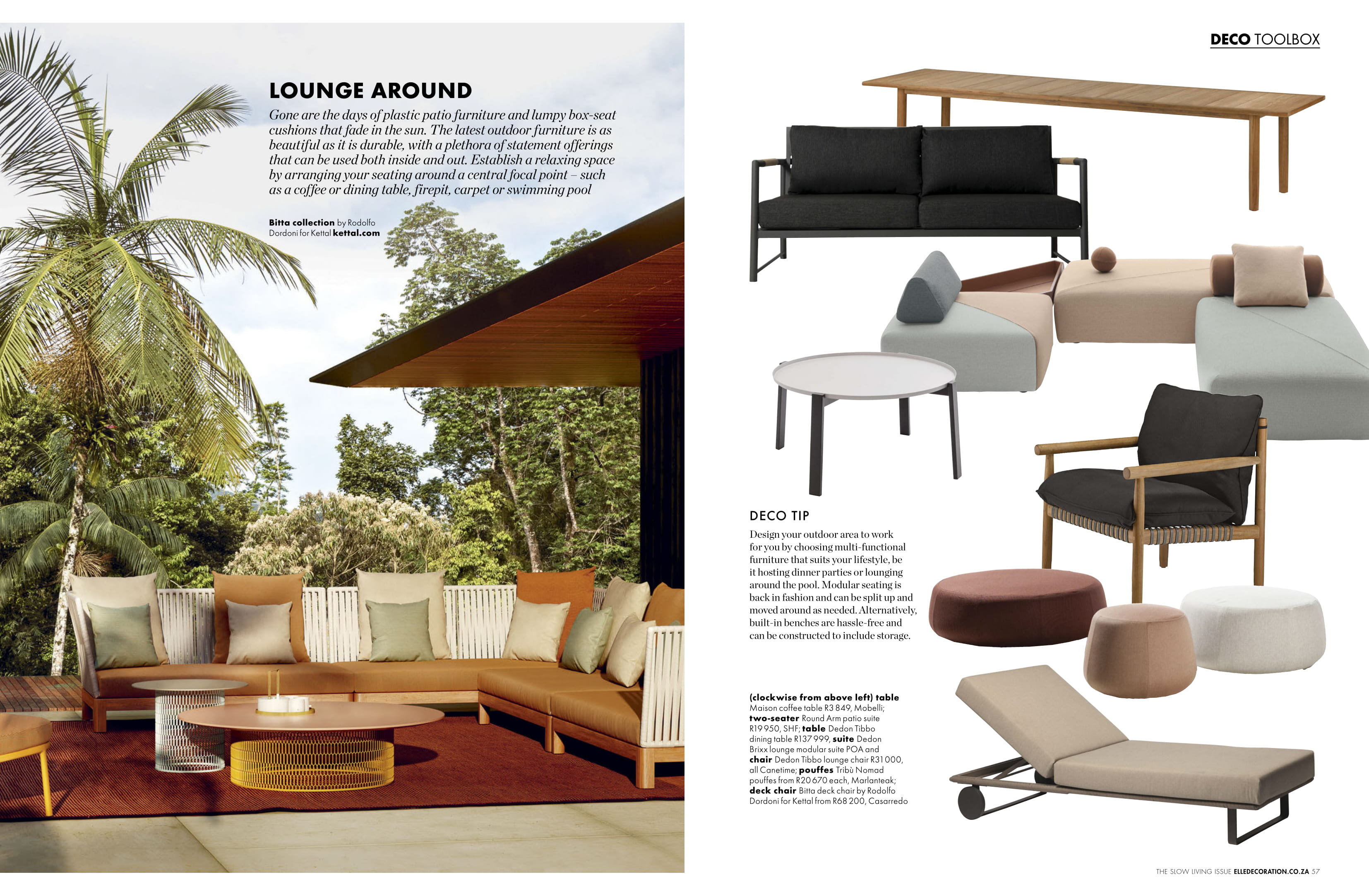 Marlanteak outdoor furniture feature with elle decor magazine