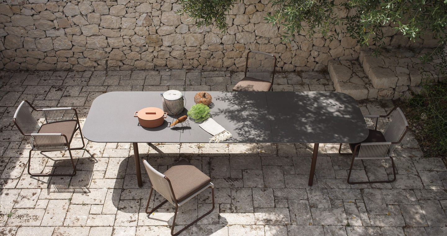 Piper outdoor dining tables by Roda